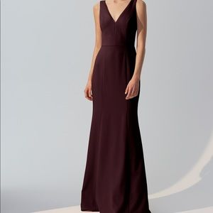 Amsale Crepe Bridesmaid Sydney Dress- Ruby Size 10